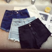Jeans Spring of 2019 White, light blue, dark blue, black, decor S,M,L,XL shorts High waist Knickerbockers routine 18-24 years old Wear out Cotton elastic denim light colour 209 large amount of stock Other / other