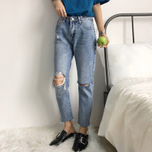 Women's large Spring of 2018 Light blue (free freight insurance) M Large XL Large XXL large XXXL large L Jeans commute thin Ol style Denim Hand abrasion one thousand eight hundred and thirty-one 18-24 years old hole Ninth pants