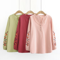 Middle aged and old women's wear Spring of 2019, autumn of 2019 Red, light green, pink 1XL for 120-140 kg, 2XL for 141-165 kg, 3XL for 166-185 kg, 4XL for 186-210 kg leisure time shirt easy singleton  Flower and bird pattern Socket moderate V-neck routine routine Other / other Embroidery Long sleeves