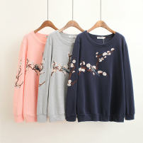 Sweater / sweater Autumn of 2018 Light grey, Navy, pink XL,2XL,3XL,4XL Long sleeves routine Socket singleton  routine Crew neck easy commute routine Plants and flowers 40-49 years old 71% (inclusive) - 80% (inclusive) Other / other ethnic style cotton Embroidery cotton