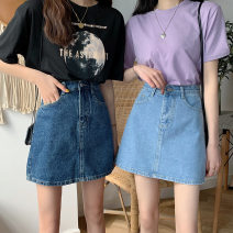 skirt Summer 2021 S,XL,L,M Dark blue, light blue longuette commute Natural waist A-line skirt Solid color Type A 18-24 years old FA1987 71% (inclusive) - 80% (inclusive) other Other / other