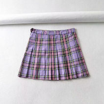 skirt Summer 2020 XS.,S.,M.,L. Wt801 card blue grid, wt802 yellow grid, wt800 blue grid, wt800 purple grid Short skirt Versatile High waist Pleated skirt lattice Type A 51% (inclusive) - 70% (inclusive) other