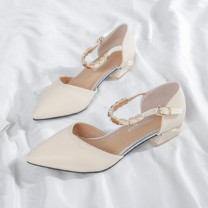 Sandals 34,35,36,37,38,39,40 Black, apricot, purple pink {slightly pink} Superfine fiber Other / other Baotou Thick heel Middle heel (3-5cm) Spring 2021 Flat buckle Korean version Solid color Adhesive shoes Youth (18-40 years old) rubber daily Bag heel Thick heel, metal decoration Low Gang Hollow