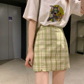 skirt Spring 2020 XS,S,M,L Green check pattern of Matcha Short skirt fresh Natural waist A-line skirt lattice Type A 18-24 years old 51% (inclusive) - 70% (inclusive) brocade jupe vendue polyester fiber zipper 201g / m ^ 2 (including) - 250G / m ^ 2 (including)