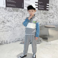 suit Haima house grey 100cm,110cm,120cm,130cm,140cm,150cm,160cm male spring and autumn Korean version Long sleeve + pants 2 pieces routine There are models in the real shooting Zipper shirt nothing Solid color cotton children Learning reward 21af02 Class B Cotton 80% polyester 20% Chinese Mainland
