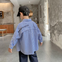 shirt Blue and white stripes Haima house male 110cm,120cm,130cm,140cm,150cm,160cm spring and autumn Long sleeves Korean version stripe Pure cotton (100% cotton content) Lapel and pointed collar Cotton 100% 21ab04 Class B