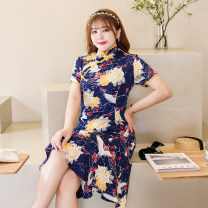 Women's large Summer 2021 blue L recommendation 110-125 kg, XL recommendation 125-140, 2XL recommendation 140-155, 3XL recommendation 155-170, 4XL recommendation 170-185, 5XL recommendation 185-200 commute Self cultivation moderate Short sleeve Decor V-neck routine d1209 Macchiatto 25-29 years old