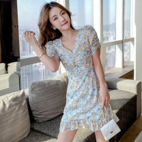 Dress Summer 2020 Decor S,M,L,XL Miniskirt singleton  elbow sleeve Sweet Doll Collar middle-waisted Broken flowers Single breasted Princess Dress Princess sleeve Others 18-24 years old Type H 31% (inclusive) - 50% (inclusive) other polyester fiber