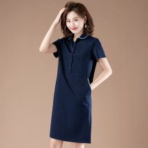 Dress Summer 2020 Navy, Navy (long sleeve) M,L,XL,2XL,3XL Mid length dress singleton  Short sleeve commute Polo collar High waist Solid color other A-line skirt routine Others 30-34 years old Type A Plain wood Korean version Pockets, panels, buttons 71% (inclusive) - 80% (inclusive) other cotton