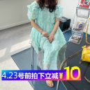 Dress Summer 2021 Off white, mint green Average size Mid length dress singleton  Short sleeve commute Crew neck Loose waist Socket Others Korean version