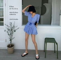 Dress Summer 2021 Green, blue, black Average size Short skirt singleton  Short sleeve commute V-neck Elastic waist Decor Socket other puff sleeve Others 18-24 years old Type A Korean version printing 31% (inclusive) - 50% (inclusive) other other