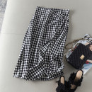 skirt Spring 2021 S,M,L Black and white check Mid length dress commute High waist A-line skirt lattice Type A Ol style