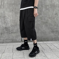 Casual pants Others Youth fashion Black, gray, khaki S,M,L,XL,2XL,3XL thin Cropped Trousers Other leisure easy Micro bomb J09 summer teenagers tide 2021 middle-waisted Straight cylinder Overalls Embroidered logo Sanding Solid color cotton cotton Fashion brand