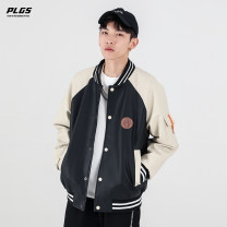 Jacket Hune PoLargoose  Youth fashion Black grey M L XL 2XL 3XL 4XL 5XL 6XL routine easy Other leisure spring Polyester 85% cotton 15% Long sleeves Baseball collar tide youth routine Single breasted Rib hem washing Closing sleeve other PU leather Spring 2021 Embroidery Side seam pocket