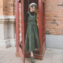 Dress Autumn 2021 S. M, l, average size longuette Two piece set commute Solid color Socket Big swing straps 18-24 years old Type A Retro 51% (inclusive) - 70% (inclusive) corduroy