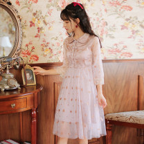Dress Summer 2020 Pink S,M,L,XL Mid length dress singleton  three quarter sleeve commute Doll Collar High waist Single breasted A-line skirt pagoda sleeve Others 18-24 years old Type A literature Button, mesh 51% (inclusive) - 70% (inclusive)