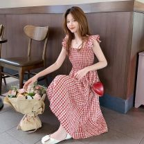 Dress Summer 2020 Red grid, black grid, random lucky bag snap S,M,L,XL,2XL longuette singleton  Sleeveless commute other High waist lattice Socket other other Others 18-24 years old Other / other Korean version 31% (inclusive) - 50% (inclusive) other other