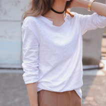 T-shirt white S,M,L,XL,2XL Autumn 2020 Long sleeves Crew neck easy Regular routine commute cotton 96% and above Korean version Solid color Gelangsi