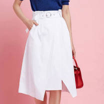 skirt Summer of 2019 XS = 1 [seven days return], s = 2 [seven days return], M = 3 [seven days return], l = 4 [seven days return], XL = 5 [seven days return] White, dark blue Middle-skirt Versatile High waist A-line skirt Solid color Type A 5200025-1002361-001 Santa Anastasia