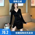 Dress Winter 2020 black S,M,L,XL,XXL Short skirt singleton  Long sleeves commute V-neck High waist Solid color Socket One pace skirt routine Others 25-29 years old Type X Other Korean version More than 95% other other