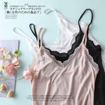 Nightdress Other / other Black, white, skin color M,L,XL camisole Leisure home Middle-skirt summer Solid color youth silk silk