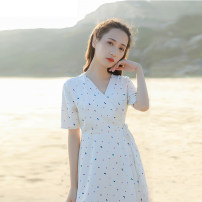 Dress Summer 2021 Apricot XS,S,M,L Short skirt singleton  Short sleeve commute V-neck High waist Broken flowers zipper A-line skirt routine Others 18-24 years old Type X Retro Zipper, resin fixation, 3D, printing More than 95% other other