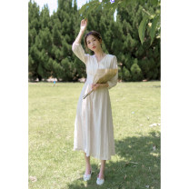 Dress Autumn of 2019 Apricot XS,S,M,L Mid length dress singleton  three quarter sleeve commute V-neck High waist Solid color Single breasted A-line skirt routine Others 18-24 years old Type X Retro Button, resin fixation More than 95% other other