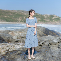 Dress Summer 2021 blue XS,S,M,L Mid length dress singleton  Short sleeve commute Crew neck High waist Dot zipper A-line skirt bishop sleeve Others 18-24 years old Type X Retro Button, zipper, resin fixation More than 95% other other
