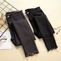 Women's large Autumn 2020 Jeans singleton  commute Self cultivation moderate Solid color Korean version Denim Hand abrasion Other / other 18-24 years old pocket 51% (inclusive) - 70% (inclusive) Ninth pants