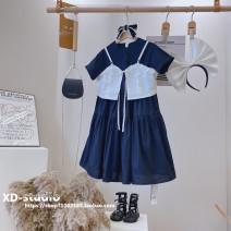 Dress Black (baoerwang brand in stock) female Other / other Other 100% summer Korean version Short sleeve Solid color other Pleats other Four, five, six, seven, eight, nine, ten, eleven, twelve, thirteen, fourteen
