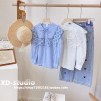 shirt White (in stock), blue (in stock) Other / other female spring and autumn Long sleeves Korean version Solid color other Lapel and pointed collar Other 100% CH2414 other