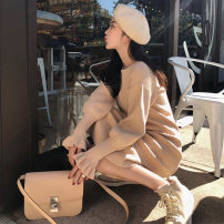 Dress Winter of 2019 S,M,L,XL longuette singleton  Long sleeves commute Crew neck middle-waisted Solid color Socket Lotus leaf sleeve Other / other Korean version 31% (inclusive) - 50% (inclusive) other polyester fiber