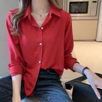 shirt White, red, blue, black M,L,XL,2XL,3XL,4XL Spring 2020 other 91% (inclusive) - 95% (inclusive) Long sleeves commute Regular other Single row multi button routine Solid color 18-24 years old Other / other Korean version