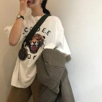 T-shirt Black, white XL,L,M,XXL Summer 2021 Short sleeve Crew neck easy Regular routine street Chloroprene 18-24 years old Animal design Lanhuimei, lanhuimei printing