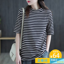T-shirt Black stripe, blue stripe L,XL Spring 2021 Short sleeve Crew neck easy Regular routine commute cotton 51% (inclusive) - 70% (inclusive) 30-39 years old Korean version classic Thick horizontal stripe Carmine feather S4478