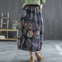 skirt Summer 2021 Average size Black, peacock, blue pink, rose purple, sunflower Mid length dress Versatile Natural waist A-line skirt Broken flowers Type A 30-34 years old Q0498 51% (inclusive) - 70% (inclusive) other Carmine feather hemp Old, printed