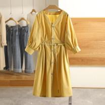 Dress Spring 2021 Coral Orange, marigold, Coral Orange (no belt) S,M,L,XL Mid length dress singleton  elbow sleeve V-neck Type A Other / other 20C3L137 More than 95% cotton