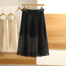 skirt Spring 2021 S,M,L,XL,XXL black Mid length dress High waist Type A B2003621 More than 95% Other / other
