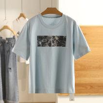 T-shirt Summer 2021 Short sleeve Regular cotton 96% and above Other / other A2DA92209 White, light blue S,M,L,XL