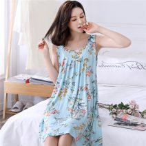 Nightdress Other / other luxurious Short sleeve pajamas Middle-skirt summer Plants and flowers middle age Crew neck cotton printing More than 95% Modal fabric