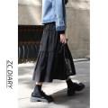 skirt Autumn 2020 S,M,L black Mid length dress Versatile High waist A-line skirt Solid color Type A Splicing