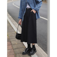 skirt Spring 2021 S,M,L black longuette Versatile High waist A-line skirt Solid color Type A 18-24 years old More than 95% Denim other Pockets, stitching, open line decoration