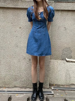 Dress Summer 2021 Denim blue S,M,L Short skirt singleton  Short sleeve street square neck High waist Solid color Three buttons A-line skirt puff sleeve Type A Make old, button, stitching, line decoration 31% (inclusive) - 50% (inclusive) Denim Sports & Leisure