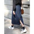 skirt Autumn 2020 S,M,L navy blue longuette Versatile High waist A-line skirt Solid color Type A Denim