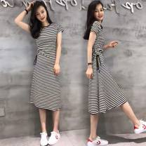 Dress Summer 2021 Black, black and white stripes S,M,L,XL,2XL longuette singleton  Short sleeve commute Crew neck middle-waisted stripe Socket A-line skirt routine Others 18-24 years old Type A Korean version Lace up