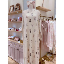 Pajamas / housewear set female Other / other One size fits all cotton Sweet Leisure home autumn routine Crew neck Socket youth More than 95% pure cotton printing longuette
