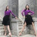 Latin bottom female S,M,L,XL,XXL,XXXL Black lotus leaf skirt, black milk silk tassel skirt Other / other spandex
