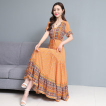 Dress Summer 2021 Red, blue, yellow M,L,XL,2XL,3XL longuette singleton  Short sleeve commute V-neck middle-waisted Decor Socket A-line skirt routine Others 30-34 years old Type A Korean version Print, zipper 31% (inclusive) - 50% (inclusive) Chiffon polyester fiber