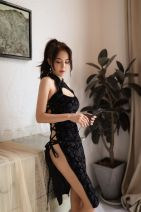 Dress Autumn of 2019 Average size Short skirt Two piece set Solid color 18-24 years old Type H Other / other Hollowing out More than 95% polyester fiber