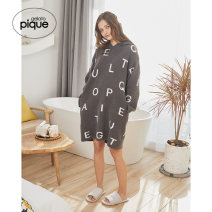Nightdress gelato pique Gray white gray F Long sleeves winter youth Hood printing Spring 2021 Other 100% Same model in shopping mall (sold online and offline)
